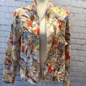 ColdWater creek Open Front Floral Blazer jacket